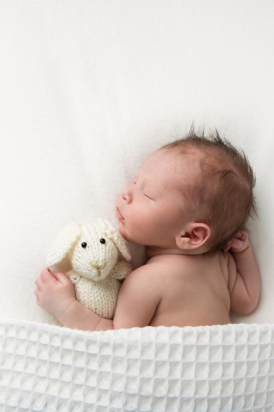 Sleeping Newborn holding a teddy bear in Fairbanks, Alaska taken by Kimberly Kendall Photography