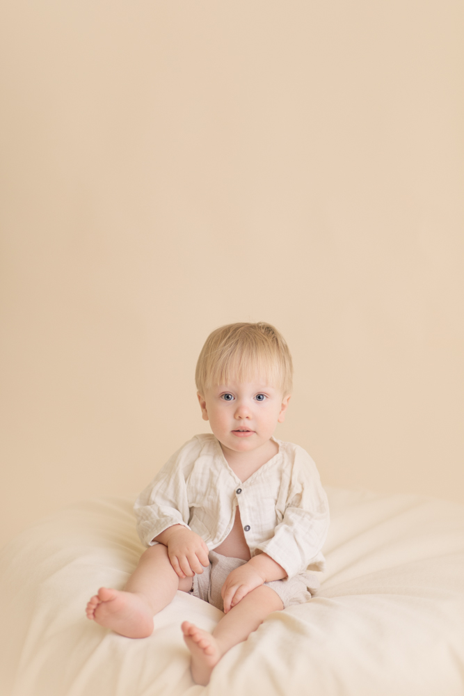Toddler sitting on beanbag