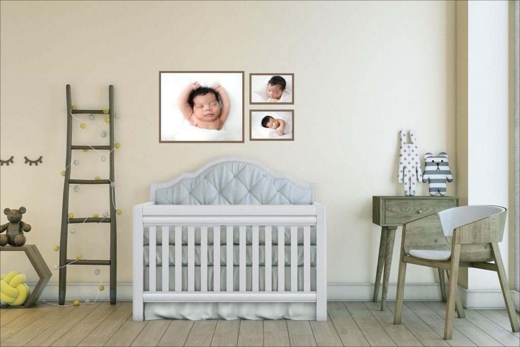 Nursery design with newborn portraits taken by Kimberly Kendall